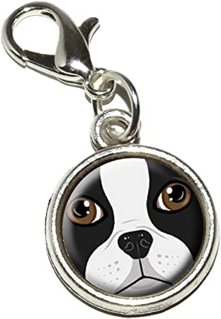 Boston terrier heart custom Engraved Pendant Charm with Necklace Keychain Jewelry or Bags