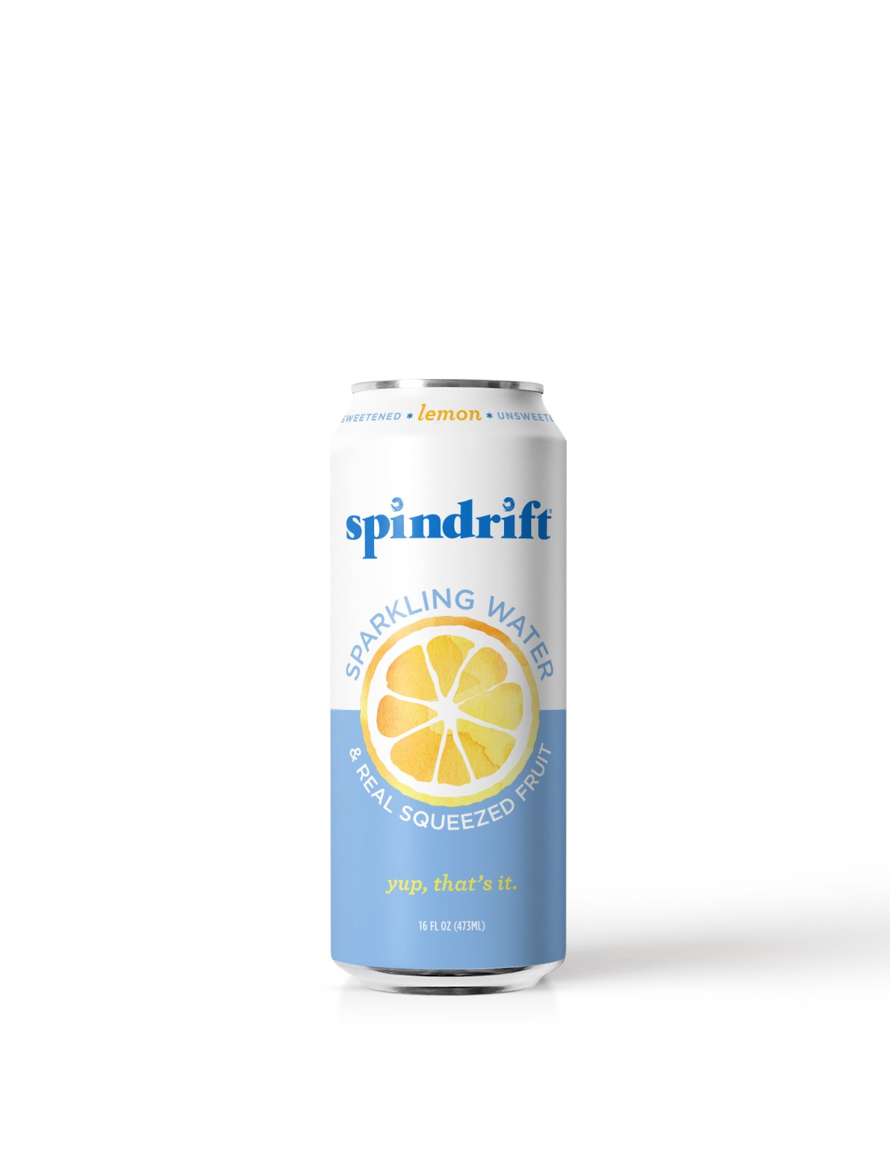 Spindrift Lemon Sparkling Water, 16-Fluid-Ounce Cans, Pack of 12