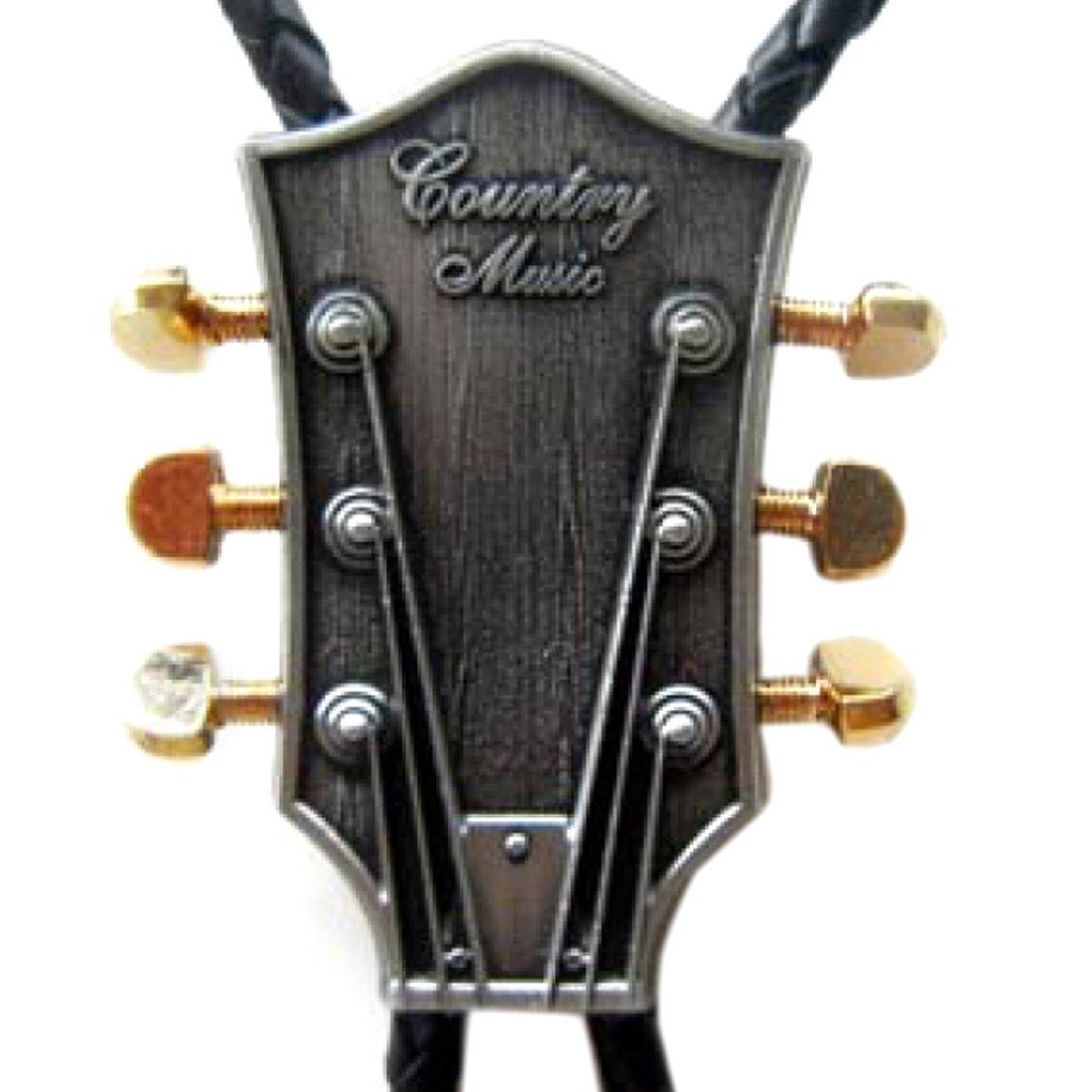 Gitarre Western Krawatte Bolotie 24 ct Bolo-Tie Gitarrenkopf Gold
