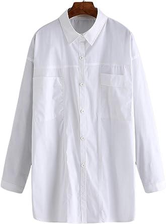 De la Mujer Blanca de Manga Larga Solapa Bolsillos Camisa de ...