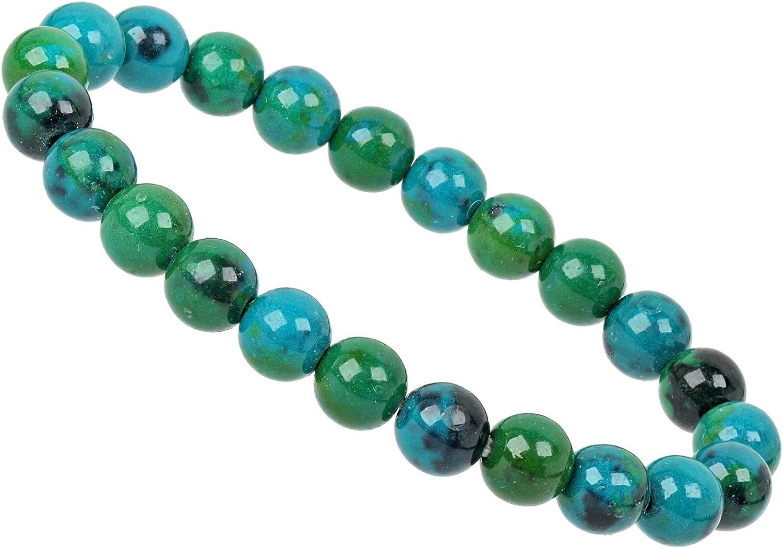 ELEDORO PowerBead Pulsera de Perlas de Piedras Preciosas de 8 mm con Chrysokoll reconstruido para Hombre y Mujer