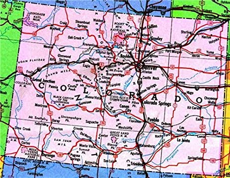 Amazoncom COLORADO STATE MAP GLOSSY POSTER PICTURE PHOTO Roads - Colorado state map