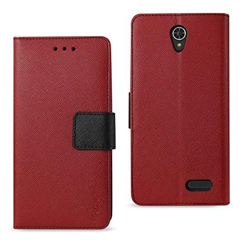 Reiko Wireless Zte Warp 7 3-in-1 Wallet Case - Red ()