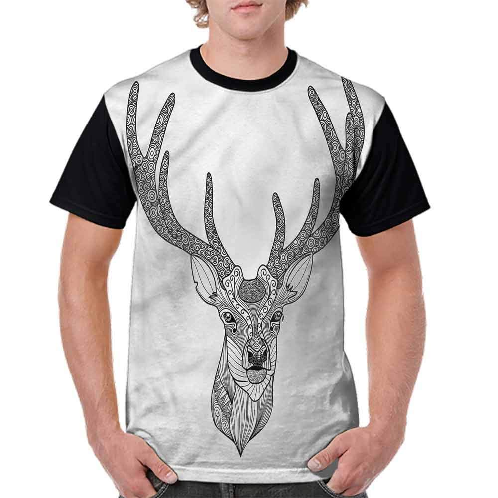 BlountDecor Loose T Shirt,Ornamental Deer Portrait Fashion Personality Customization