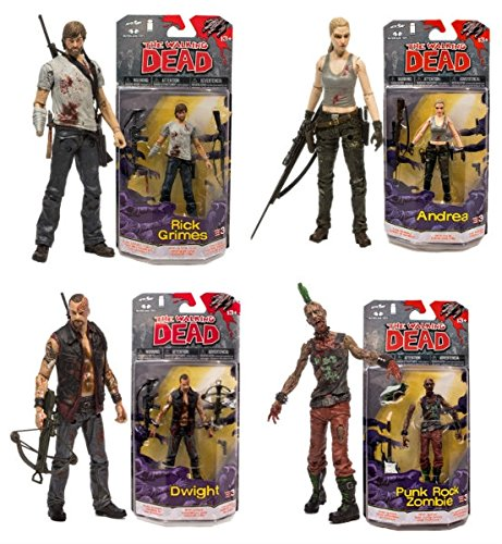 McFarlane Toys The Walking Dead Comic Book Series 3 Set of 4 Action Figures: Rick Grimes / Andrea / Dwight / Punk Rock Zombie