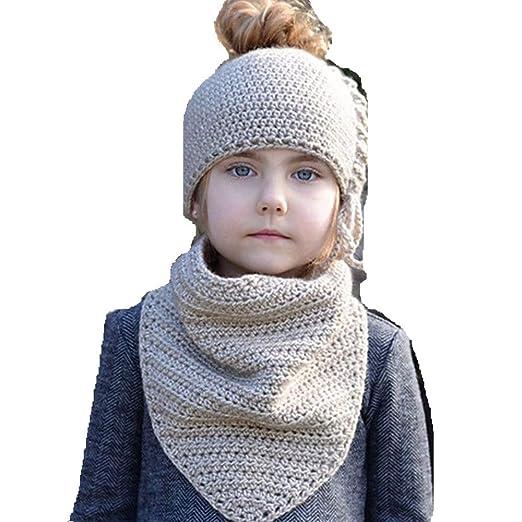 189d966a90b570 Kids Winter Hat 4-8Year Baby Girls Knit Beanie Hats Ponytail Crochet Cap  Scarf Set