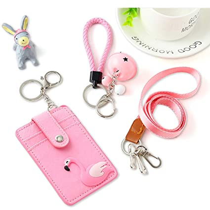 Amazon com : Flamingo ID Badge Card Holder, Neck Lanyard Strap