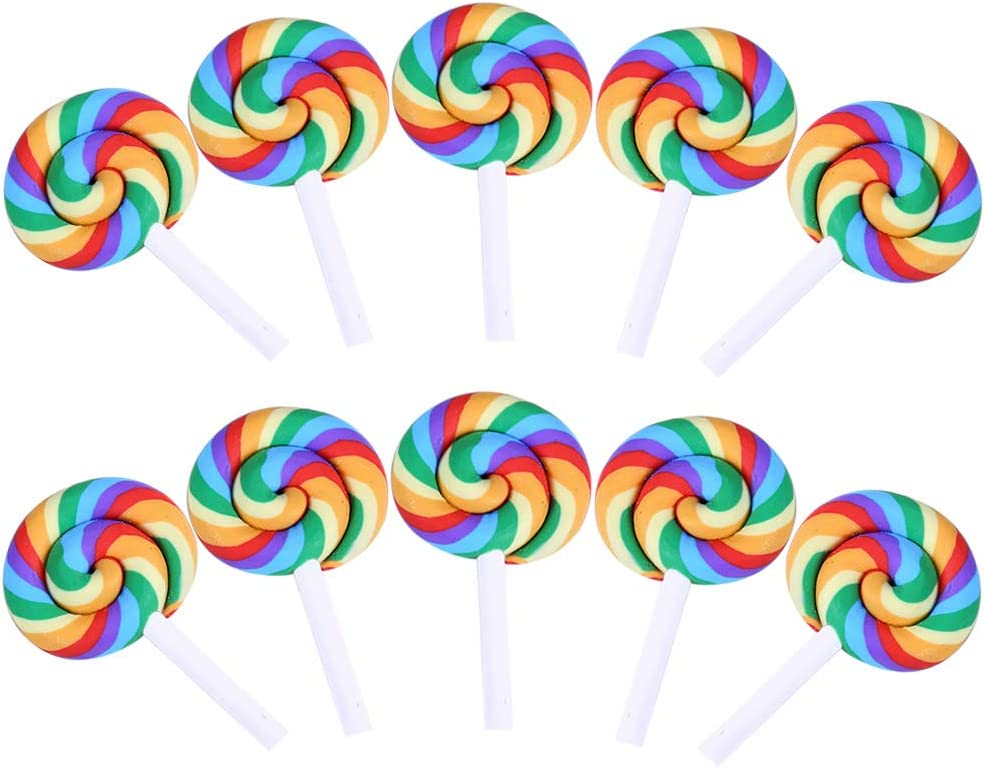 10 Mixed Color Lollipop Polymer Clay Cabochon Flatback Scrapbooking Craft DIY