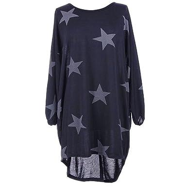 47ceb89c6 Tunique Femme Longue Grande Taille Pullover Ooversize Robe Baggy T-shirt  Etoile Imprimé Pull Automne Hiver Haut Manche Chauve Souris Chemisier  Blouse ...