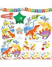 75Pcs Dinosaur Birthday Party Supplies Decorations Set For 6 Guests Disposable Dinnerware Kit Tablecloth Paper Plates Napkins Cups Hats Favors Blowouts Letter-Banner Balloon Centerpiece Cutlery
