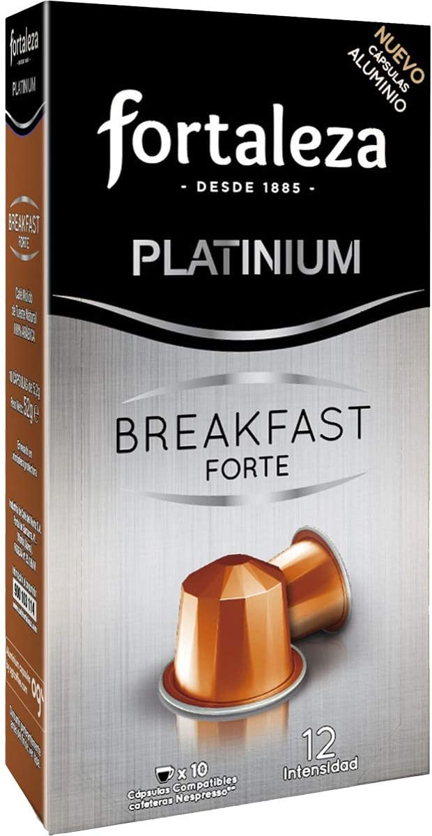Café Fortaleza Platinium – Cápsulas Compatibles con Nespresso, de Aluminio, Sabor Breakfast Forte, Intenso, 100% Arábica, Tueste Natural, Pack 5x10 - 50 uds.