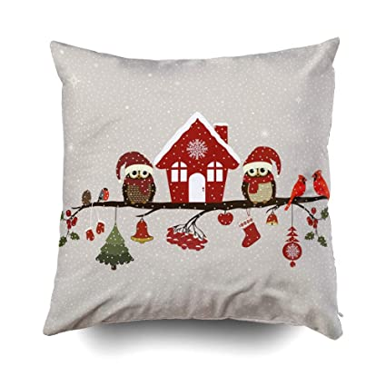 GROOTEY XMas Decorative Square Pillow Case Covers with Zippered Closing for Home Sofa Decor Size 20X20 Inch Costom Pillowcse Throw Cover Cushion ...