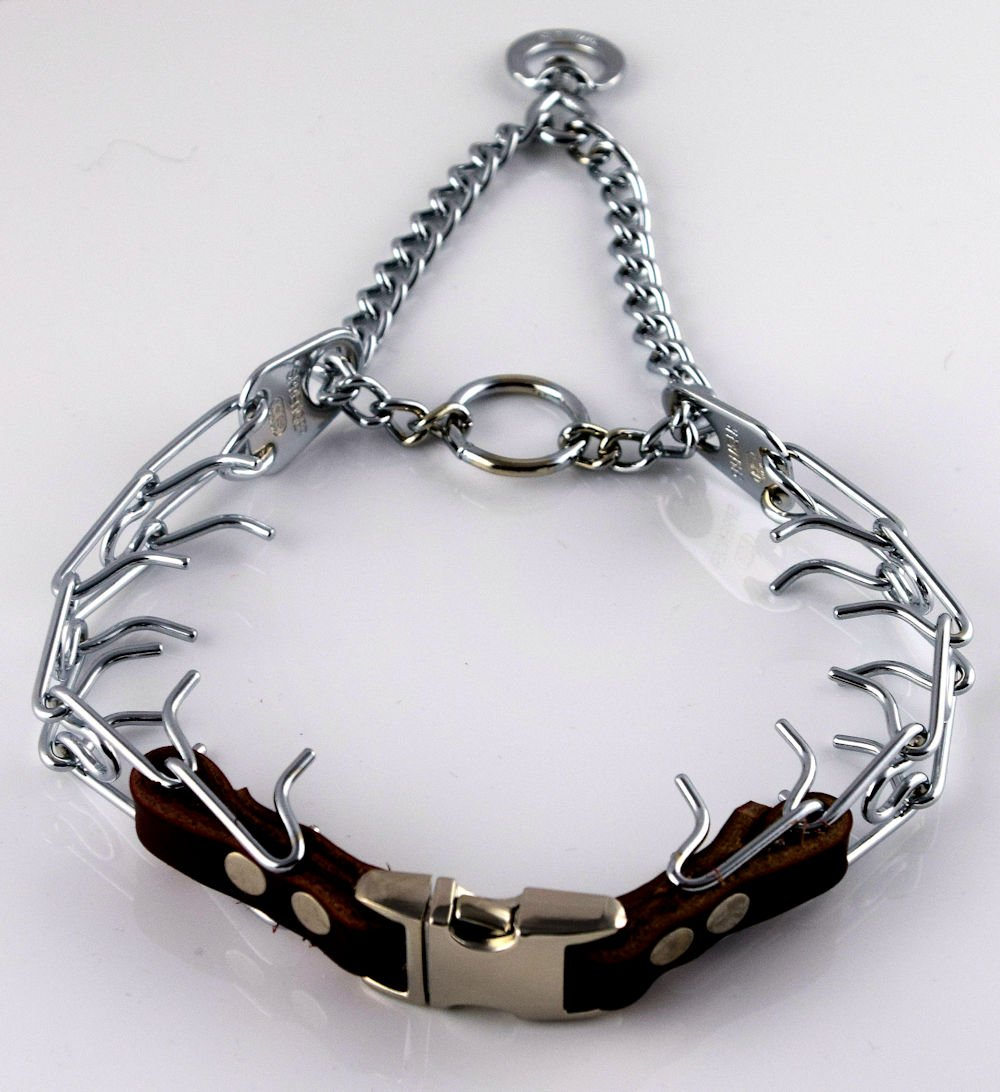 Herm Sprenger Chrome Prong Collar with Pawmark Quick-Snap Buckle