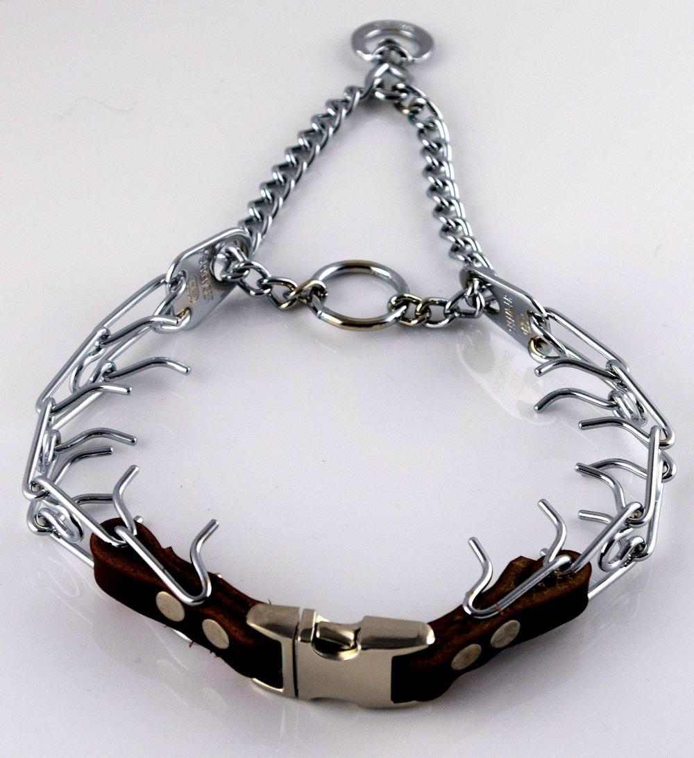 Herm Sprenger Chrome Prong Collar with Pawmark Quick-Snap Buckle - Medium