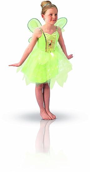 Peter Pan - Disfraz de Hada Campanilla con Luz y Alas para niña, infantil 3-4 años (Rubies 883766-S)