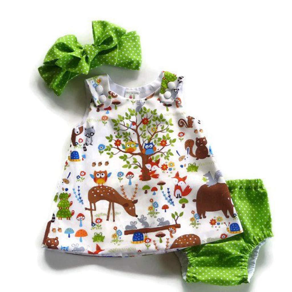 Xshuai M/ädchen Kinderkleidung Kleinkind Infant Baby M/ädchen Neugeborenes Baby M/ädchen Cartoon Floral Prinzessin Kleid Tops Shorts Outfits Set