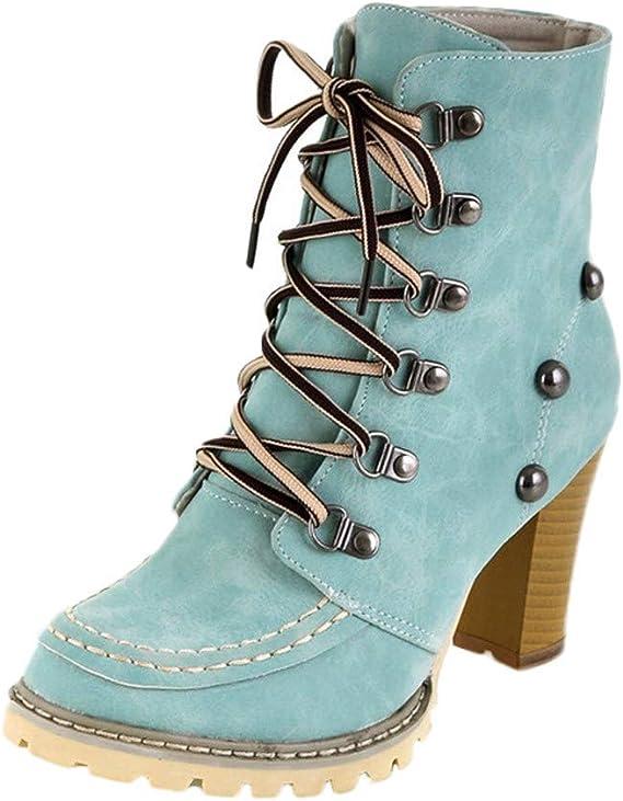 Meilleure Vente!Bottes de Neige Bottines Chaussures Femme,LuckyGirls Mode FéMinine Haut Talon Lacent Bottines Dames Chaussures Plate Forme Boucle