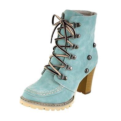 ebb53cc14557 OYSOHE Damen Schuhe Freizeit Nieten Rutschfeste Schnür High Heel Kurzschaft  Stiefel Winter Basic  Amazon.de  Schuhe   Handtaschen