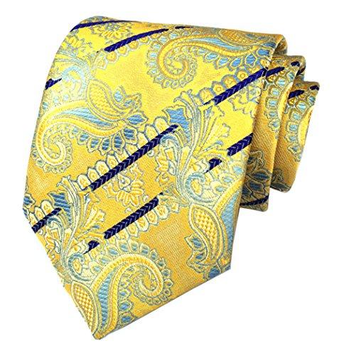 Secdtie Mens Classic Stripe Paisley Jacquard Woven Tie Silk Formal Necktie C08 (Silk Necktie Ready)