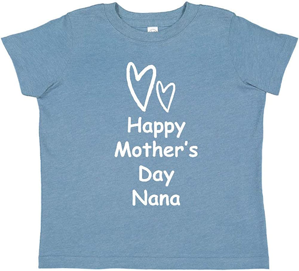 Happy Mothers Day Nana Toddler//Kids Short Sleeve T-Shirt Two Hearts