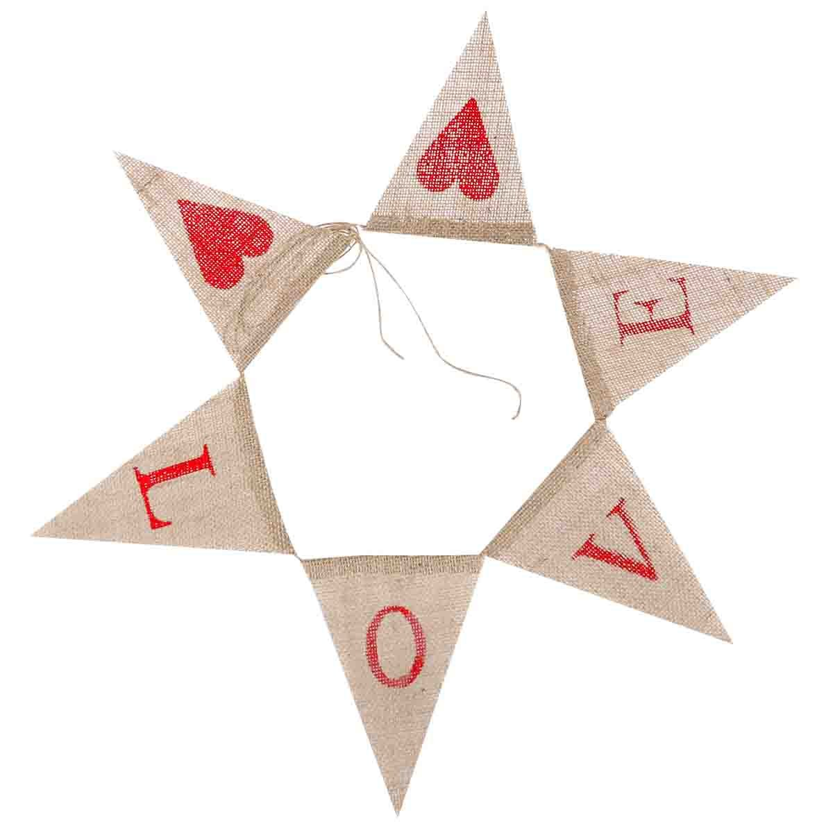 Tinksky LOVE Letters and Hearts Valentines Day Bunting Banners Rustic Jute Burlap Pennant Flags Vintage Wedding Garland