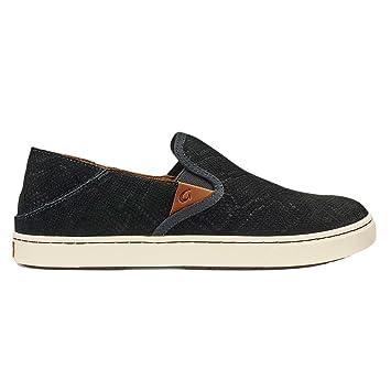 OluKai New Women's Pehuea Leather Slip On Black Honu/Black 6