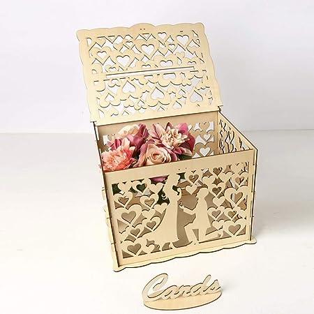 Lcjtaifu Envoltura de Regalos Caja de Tarjeta de Boda rústica Hueca Caja de Correos con Cerradura