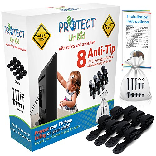 Anti Tip Furniture Anchor & TV Straps w/Ultra-Strong Mounting Hardware & Safety Stud Finder Locks-In Heavy Objects for Instant Earthquake, Child & Baby Proofing (Black, 8 Straps) - Safety Center