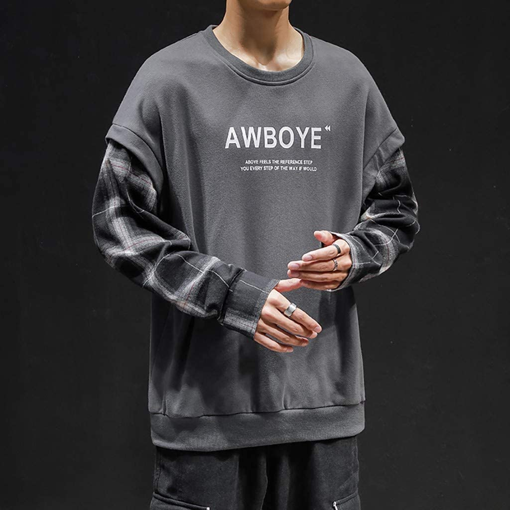 LUCAMORE Mens Autumn Spring Patchwork Long Sleeve Blouse Shirts Sweatshirt Jumper Sweater Pullover Casual Tops