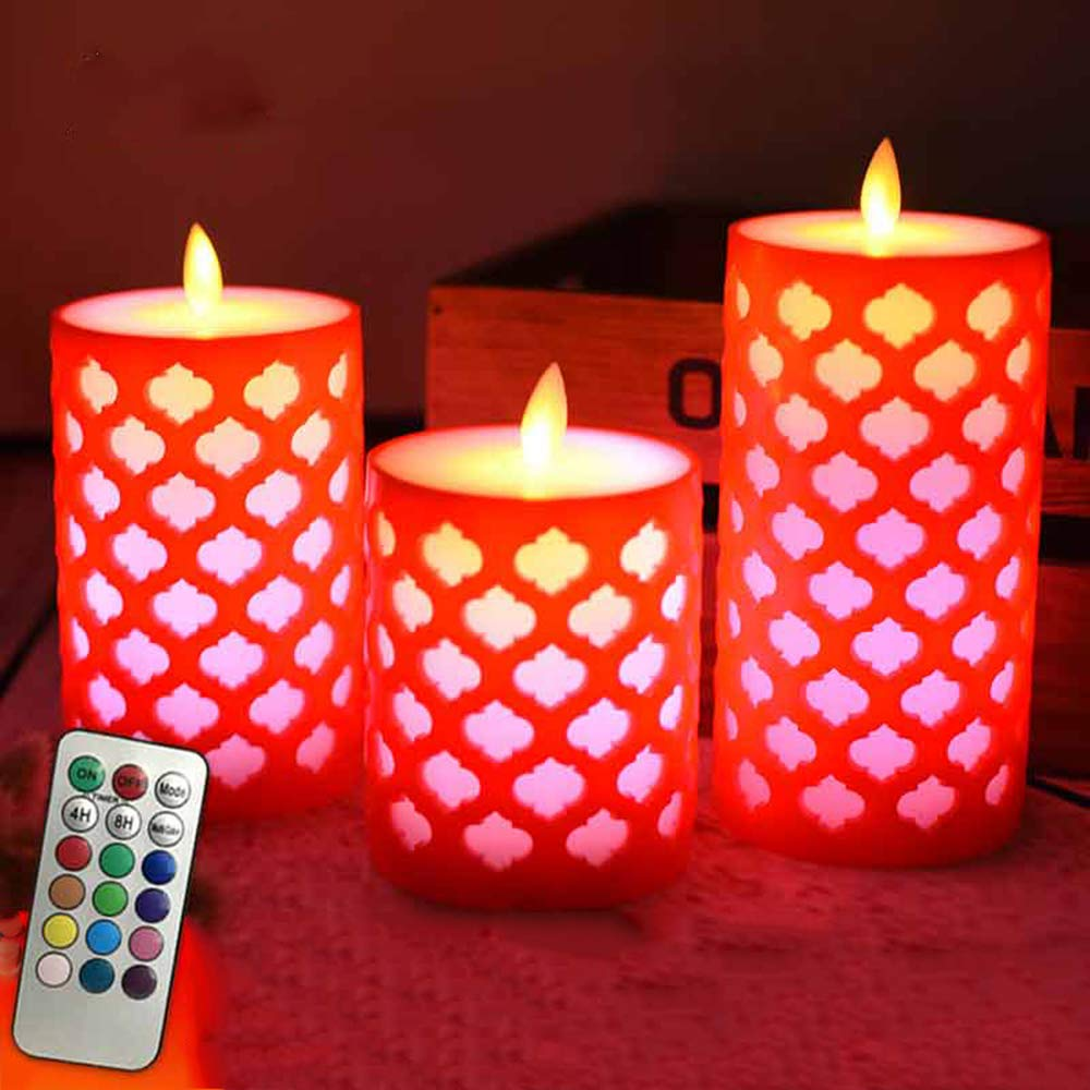(8 X 18CM) 3 X AAA Power Remote Control Red Color Grid Design Swing Electronic Led Candle, Lovely Night Lights, Wedding Party Decoration, Christmas Candles, Fireplace Candle (exclude Battery) padom