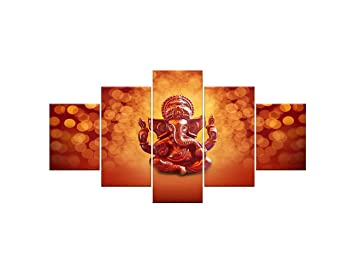 098bbffeac0 AMEMNY HD Print 5 Pieces Hindu God Ganesha Elephant Canvas Painting Living  Room Decor Canvas Painting