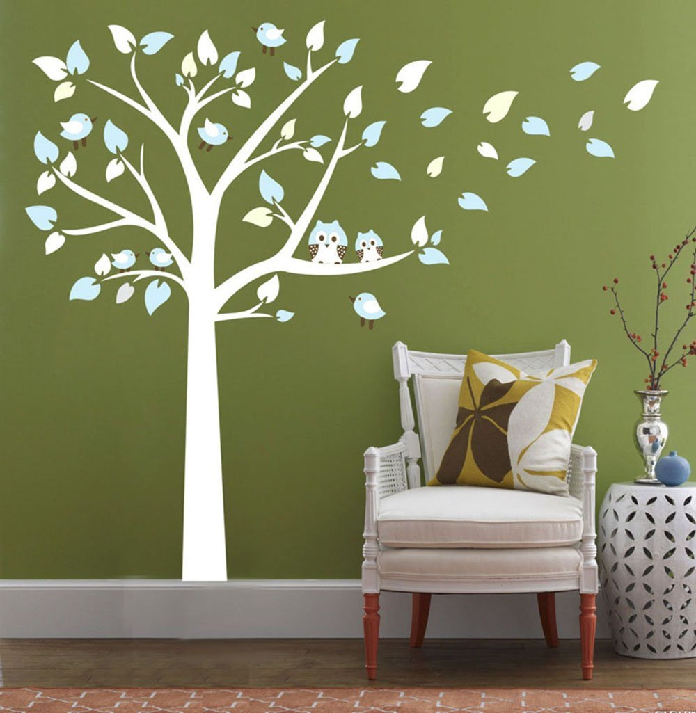 ufengke/® Large Tree Cute Owls Wall Decals Childrens Room Nursery Removable Wall Stickers Murals White And Pink