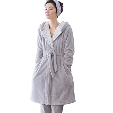 0aa3e4736151 WANGWO Women s Flannel Night-Robe Winter Warm Pajama Gown Set with ...
