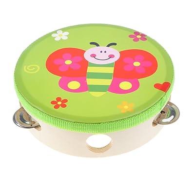 MagiDeal Juguete Pandereta de Mano Infantil Dibujos Animados Juego Musical de Percusión para Niños Niñas - Mariposa: Juguetes y juegos