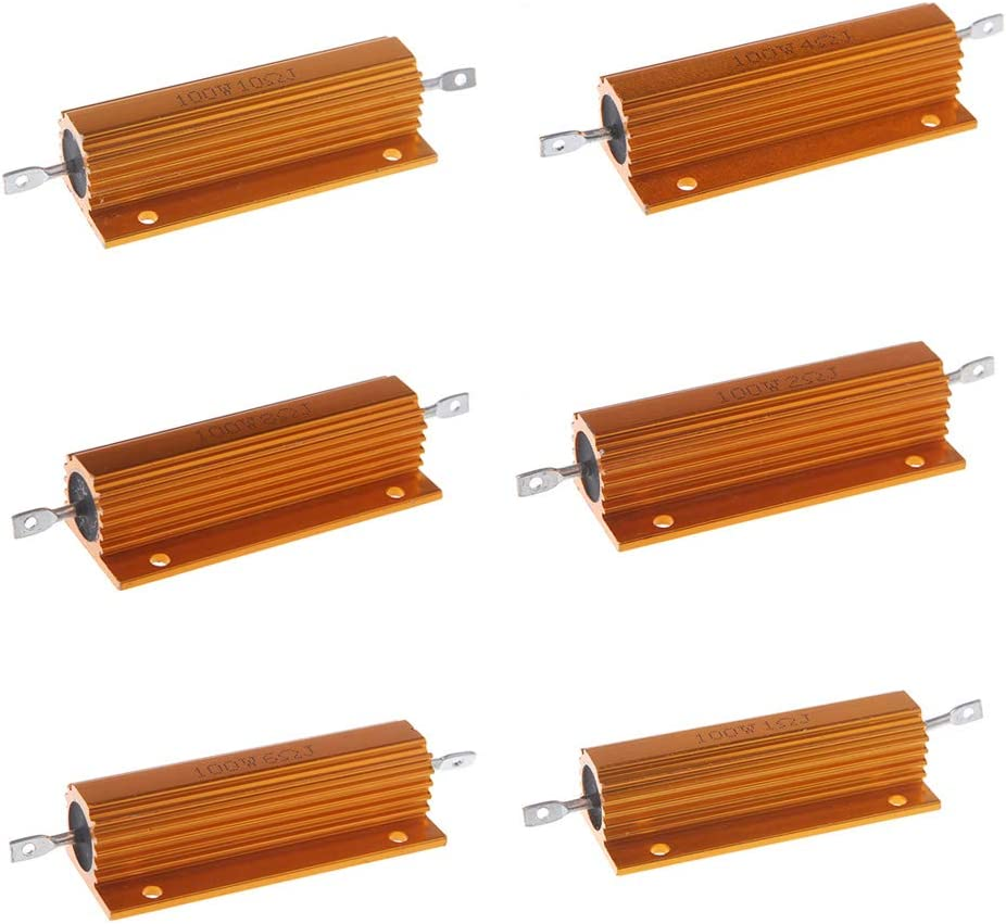 BIlinli R/ésistance bobin/ée de bo/îtier en Aluminium de Puissance de Coquille 100W 1//2//4//6//8//10 ohm