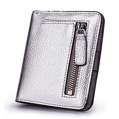 BIG SALE-AINIMOER Women's RFID Blocking Leather Small Compact Bifold Pocket Wallet Ladies Mini Purse with id Window (Silver)