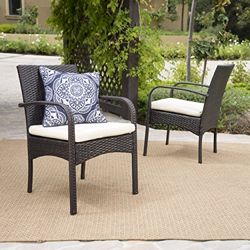 Great Deal Furniture 295660 Carmela Outdoor Multibrown PE Wicker Dining Chairs (Set of 2), Brown