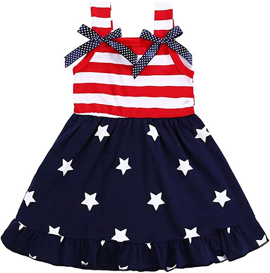 Tanhangguan Toddler Baby Girls Clothing Star Print 4th of July Bowknot Straps Dress Striped Clothes
