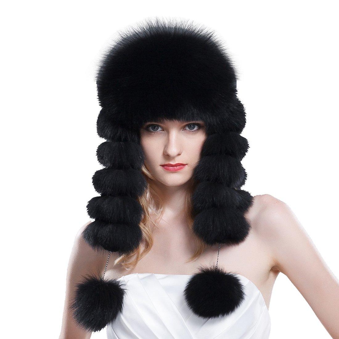 URSFUR Women's Black Fox Fur Russian Ushanka Hats with Leather Top