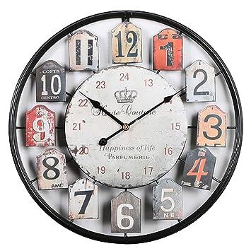 MRKE 50CM Reloj Pared Vintage XXXL Grande Silencioso 3D Metal Retro Design Reloje de Pared para Cocina/salón/Dormitorio/Baño/Oficina (Números arábigos): ...