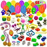 48 Toys Filled Easter Eggs, 2.5 Inches Bright Colorful Prefilled Plastic Easter Eggs for Easter Basket Stuffers