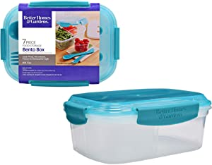 Bento Box 7 Piece (2 Boxes, 8.7 x 6.5 x 3.5 in) Food Storage, Aqua Clear Reusable Dishwasher Microwavable BPA Free