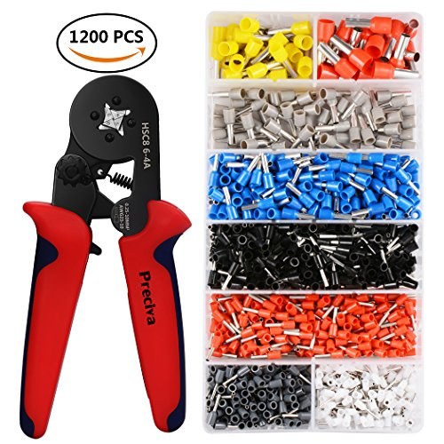Crimper Plier Set, Preciva 0.25-10mm Self-adjustable Ratchet Wire Crimping Tools with 1200 Wire Terminal Crimp Connector Insulated and Uninsulated Wire End Ferrules