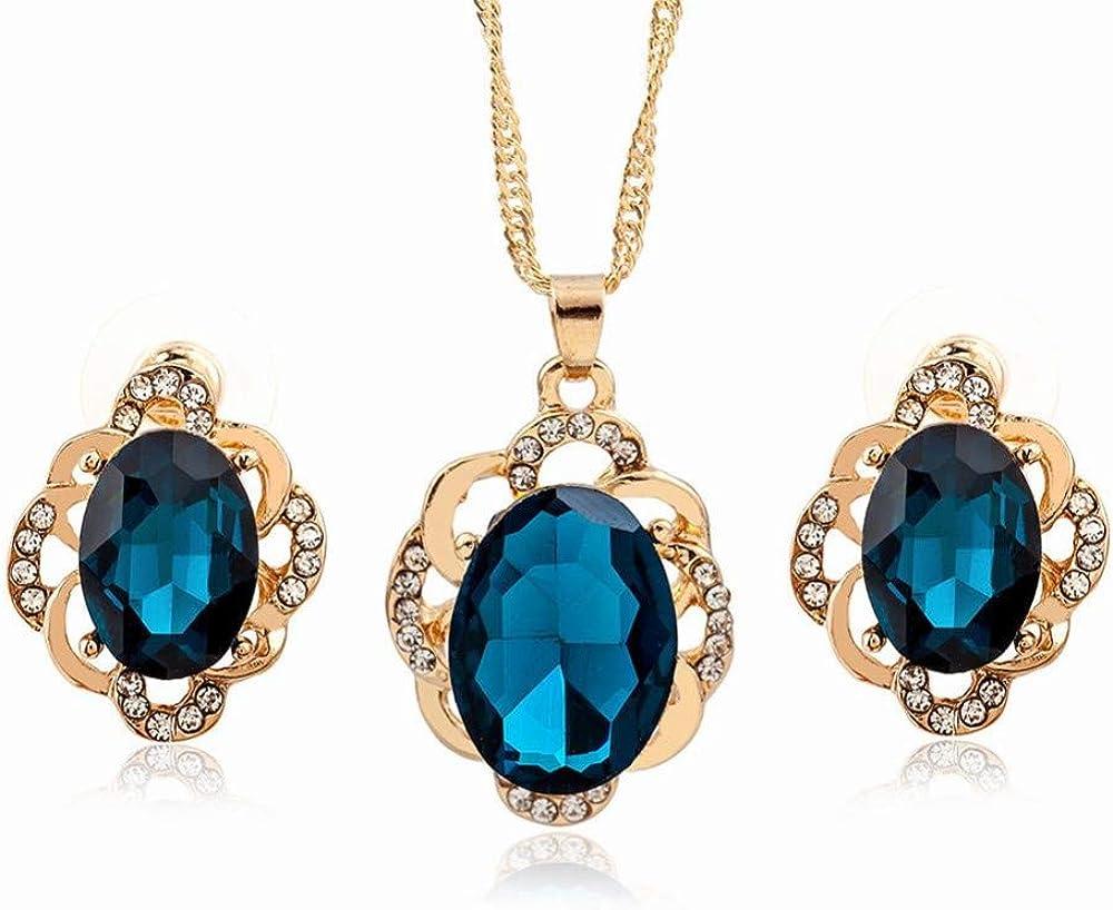 Yiiana Pendientes Joyas para mujer Pendientes de piedras preciosas elípticas negras + collar de dos piezas con un juego completo de diamantes geométricos