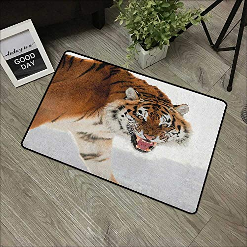 (Interior mat W19 x L31 INCH Tiger,Panthera Tigris Altaica Close-up Image with Snowy Background Angry Hunter Photo, Pale Brown Natural dye Printing to Protect Your Baby's Skin Non-Slip Door Mat Carpet)