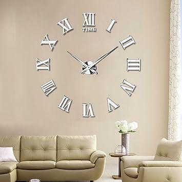 Kalaok Moderno DIY Reloj De Pared Grande Big Reloj Adhesivo 3D Pegatinas Números Romanos Mirror Sticker de Pared Home Office Decoración Extraíble,Silver: ...