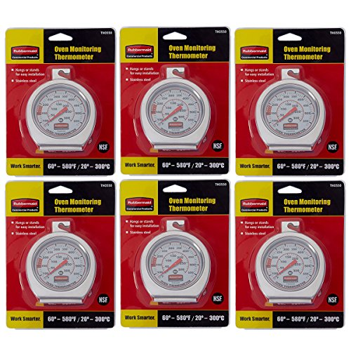 Rubbermaid Commercial Stainless Steel Oven Monitoring Thermometer, FGTHO550 6 Pack by Rubbermaid Commercial Products