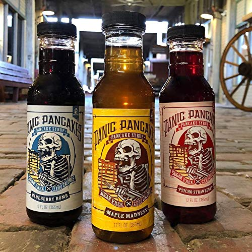 Panic Pancakes Syrup Variety Pack by Sinister Labs - Sugar free, zero calorie syrup with great berry flavor for healthy pancakes, waffles or dessert - gluten free - 12 oz bottles (6-pack)