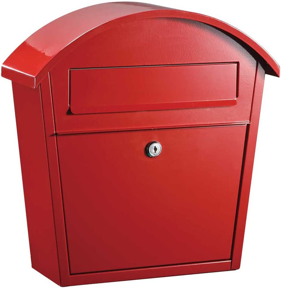 Red Qualarc WF-PM16-RD Ridgeline Wall Mount Steel Locking Mailbox