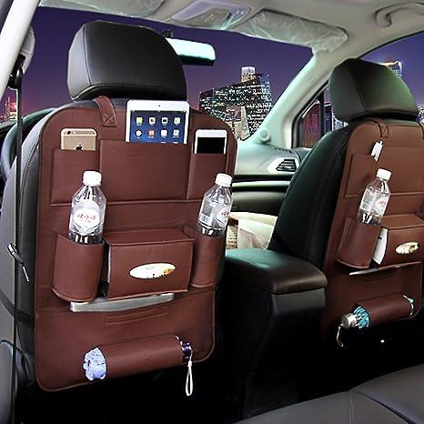 2 Car Seat Kick Mat Protector Auto Seat Cover Backseat Storage Organizer Pocket